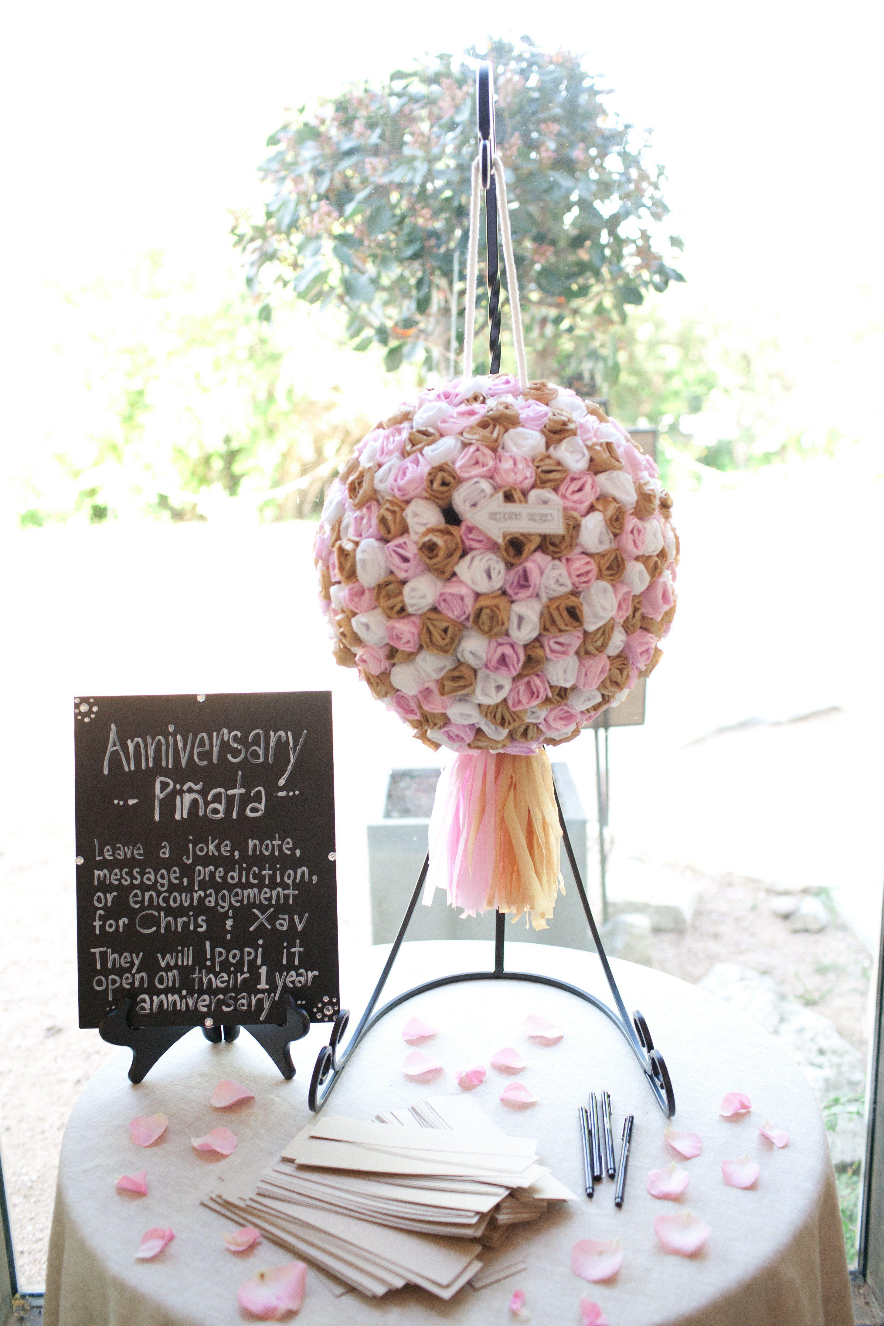 pink paper flower pinata