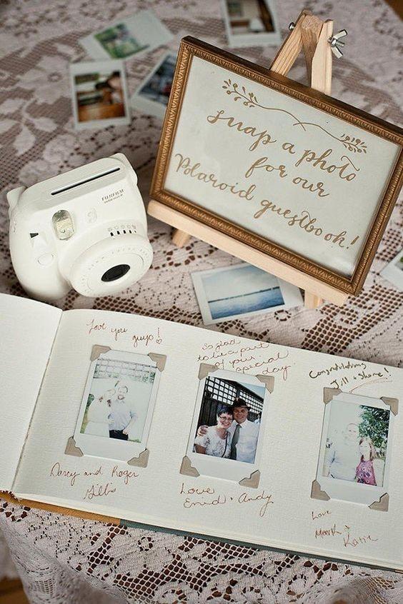 polaroid camera and album
